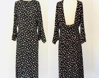 Vintage 30's Silk Backless Art Deco Sleeve Dress l M