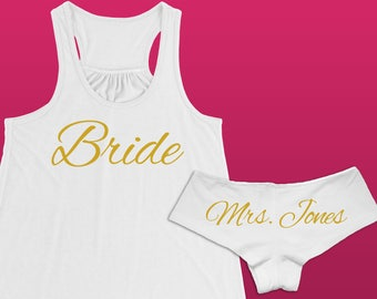 Gift For Bride Panties and Tank Top // Custom Panties and Tank Top // Personalized Panties and Tank Top //  Bride Gift // Bridal Shower Gift