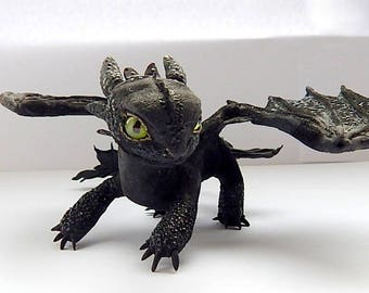 Toothless Night Fury, toothless dragon figurine sculpture, how to train your dragon toothless, toothless handmade of clay, httyd 2 dragons