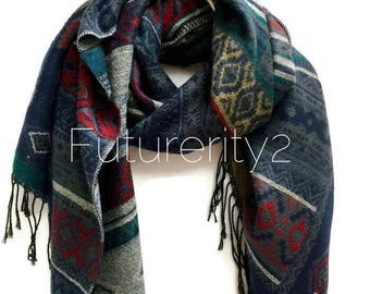 Beautifully Handcrafted Tribal Print Grey / Green  Autumn Winter Scarf / Women Scarves / Men Scarf / Gifts For Her / Accessories