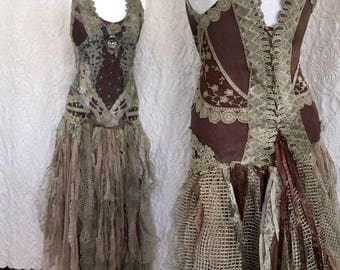 RESERVED  for sweet Sherri !!!Wedding dress pagan look, boho wedding dress earth colours,Alternative wedding dress made in Denmark,forrest w