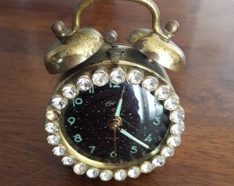 vintage 1930u0027s bradley rhinestone illuminated alarm clock w alarm bells on top