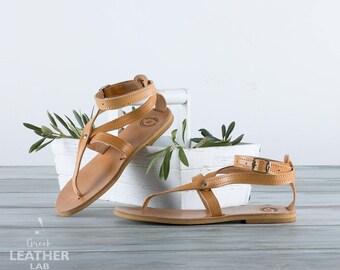 Leather sandals, greek sandals, summer shoes, gladiator sandals, flat sandals PAROS