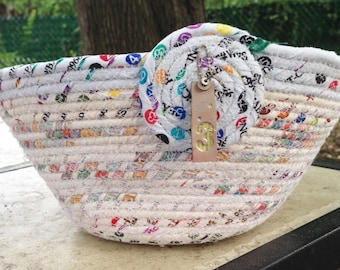 Up cycled Selveges Round Coiled Clothesline basket #3