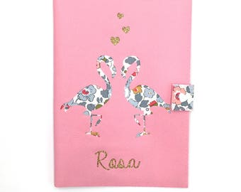 Protects health record faux leather pink flamingos and liberty betsy