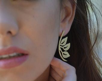 Leaf earrings, leaves earrings, bridal earrings, wedding gold earrings, handmade earrings, statement earrings, nature earrings, brides studs