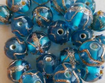 Round embellished glass beads