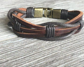 Mens Brown Leather Braided Bracelet With Secure Metal Clasp, Gift For Men, Boyfriend Gift, CS-2