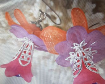 Lovely Peach Orchid Flower Earrings with Lavender and Hot Pink Center