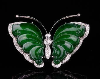 N3967  18K White Gold Inlay Emerald Jadeite Natural Diamonds Butterfly Pendant