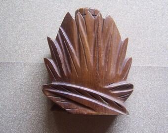 Vintage John Oya carved monkey pod wood wooden ginger perfume fragrance bottle Hawaii Hawaiian Night Blooming