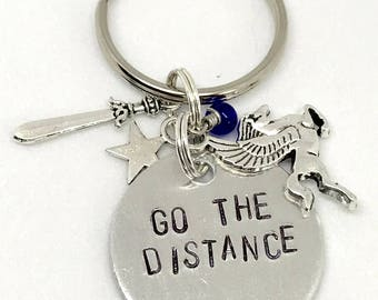 "Disney Hercules Inspired Hand-Stamped Keychain - ""Go The Distance"""