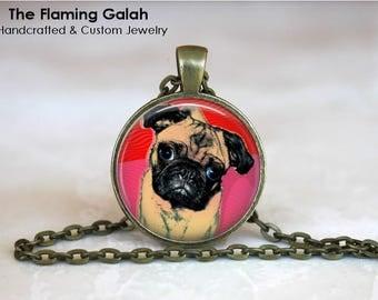 PUG POP ART Pendant •  Pet Pop Art •  Pink Pop Art •  Pink Dog •  Pink Pug •  Pet Jewellery • Gift Under 20 • Made in Australia (P1143)