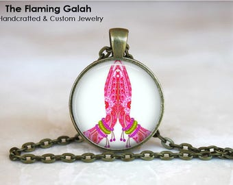 NAMASTE Pendant •  Praying Hands •  Thankful Hands • Pink Namaste • Yoga Gift • Yoga Jewellery • Gift Under 20 • Made in Australia (P1405)