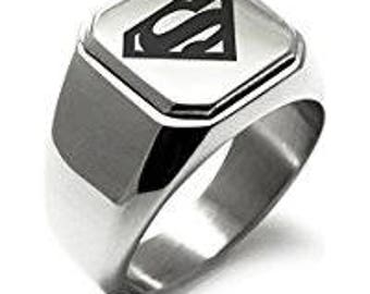 superman ring stainless steel - Superman Wedding Ring