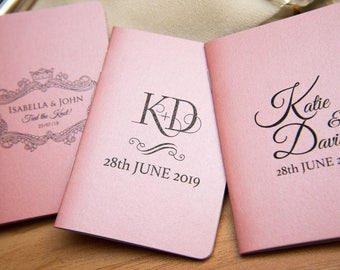 100+ Baby Pink Pearlised Mini Notebook Favours. Custom wedding favor place cards, wedding decor. Unique Notepad favours. Personalised favour