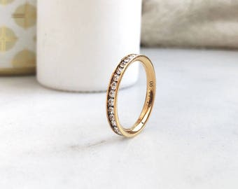 3mm Gold Plated Titanium Ring, Eternity CZ Ring, Custom Promise Ring for Her, Purity Ring, Coordinates Ring, Date Ring, Kids Name Ring