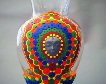 polymer clay covered glass vase