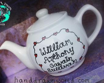 Hand drawn teapot, new baby