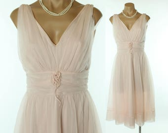 60s SHADOWLINE Nightgown Pink Nylon Chiffon Full Ballerina Lingerie Vintage 1960s Small S