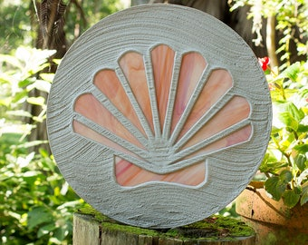Seashell Stained Glass Stepping Stone Scallop Design #525