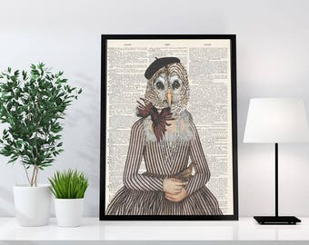 Old dictionary collection - owl art print