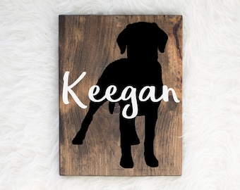 Hand Painted Labrador Retriever Silhouette on Stained Wood with Name Overlay, Dog Decor, Painting, Gift for Dog People, New Puppy Gift