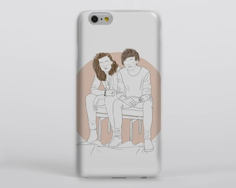 Better Together Phone Case iPhone Samsung One Direction Harry Styles Louis Tomlinson Larry Stylinson Portrait Drawing Illustration