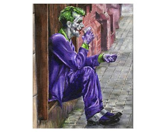 The Joker Needs Coffee - Superhero Batman / Joker Art Print (Unframed)