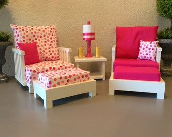 American Girl   6 Piece Sitting Room Set Collection   Chairs, Ottomans, End Part 34