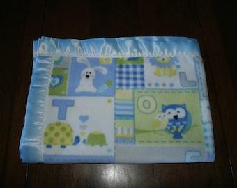 Crib Size Blue Fleece Zoo Animal Blanket Free Domestic Shipping