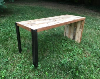 Industrial Steel and Reclaimed Railroad Tie Bench