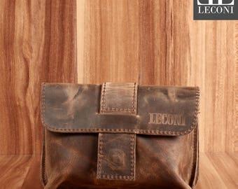 LECONI Belt bag waist bag ladies men leather mud LE9005-Wax