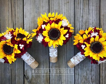 Burgundy Sunflower Bridesmaid Bouquet, Sunflower Bridesmaid Bouquet, Sunflower and Burgundy Bouquet