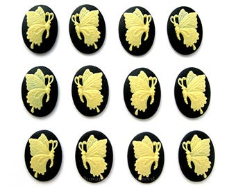 12 (6 Matching Pairs) 18mm x 13mm IVORY on Black Petite Left & Right Facing BUTTERFLY Butterflies CAMEOS Cabachons Cameo Costume Jewelry