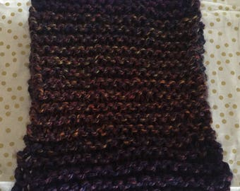 Purple with burnt orange and green scarf