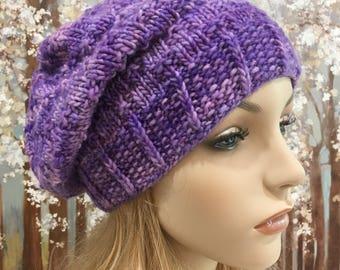 Women's Knitted Hat, Winter Hat, Slouchy Beanie, Purple Hat, 'Lorelei', Wool Hat, Hand Knit Hat