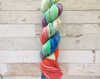 clowning around | yukihira bulky|  hand dyed yarn | blue red mint speckles | 100% SW Merino Bulky