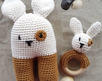 Bunny rattle and teething ring set