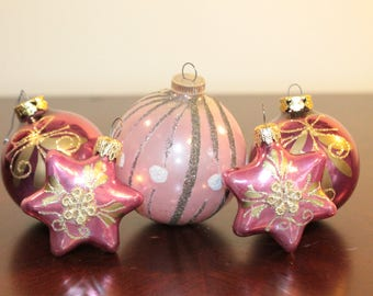 FIVE – Collection of Five Pink and Gold Ornaments – Stars and Balls – West Germany