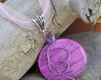Pink shabby chic style purple pendant necklace