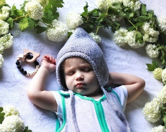 Knit pixie hat Gray pixie bonnet Baby boy pixie hat Newborn pixie hat Newborn boy hat  Baby boy bonnet Knit newborn hat Pixie hat