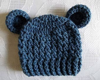 Wool baby hat Baby bear hat Newborn hat Baby bear beanie Baby boy hat Blue bear hat Baby animal hat Baby hat with ears Crochet baby hat