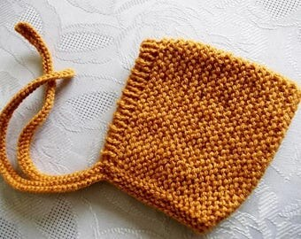 Baby pixie hat Mustard yellow hat Pixie bonnet Knit pixie hat Newborn bonnet Yellow pixie hat Knit baby bonnet Baby elf hat Knit newborn hat