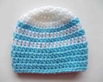 Newborn boy hat Striped boy hat Baby boy beanie Newborn boy outfit Boys hats Crochet baby hat Boy hospital hat Blue and white baby hat