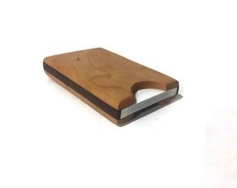Handmade Cherry and Walnut Wood Business Card Holder