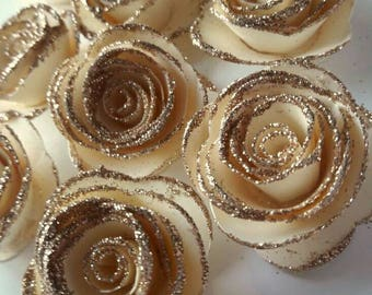 Ivory and Gold Paper Flower,