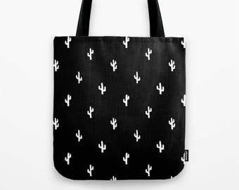 Black and White Cactus Bag, Cactus Gift for Her, Cactus Shoulder Bag, Cactus Tote Bag, Cactus Bag