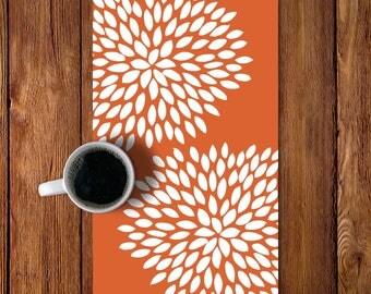45 Colors Dahlia Table Runner, Modern Flowers Table Runner, Copper Burnt  Orange Table Runner