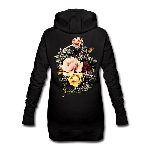 Hooded Dress with Flower Rose Bouquet Back Print Long Length For Women. Ethically Produced. Sizes S-XL. Black with colour print on reverse.